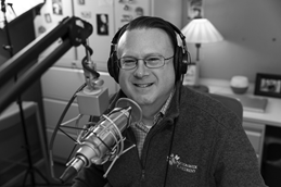 Dr. Mike Patrick in his PediaCast podcast studio.