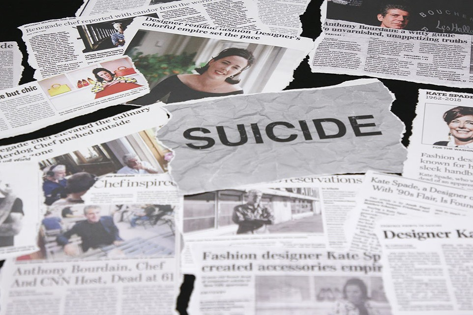Newspaper clippings on celebrity suicides