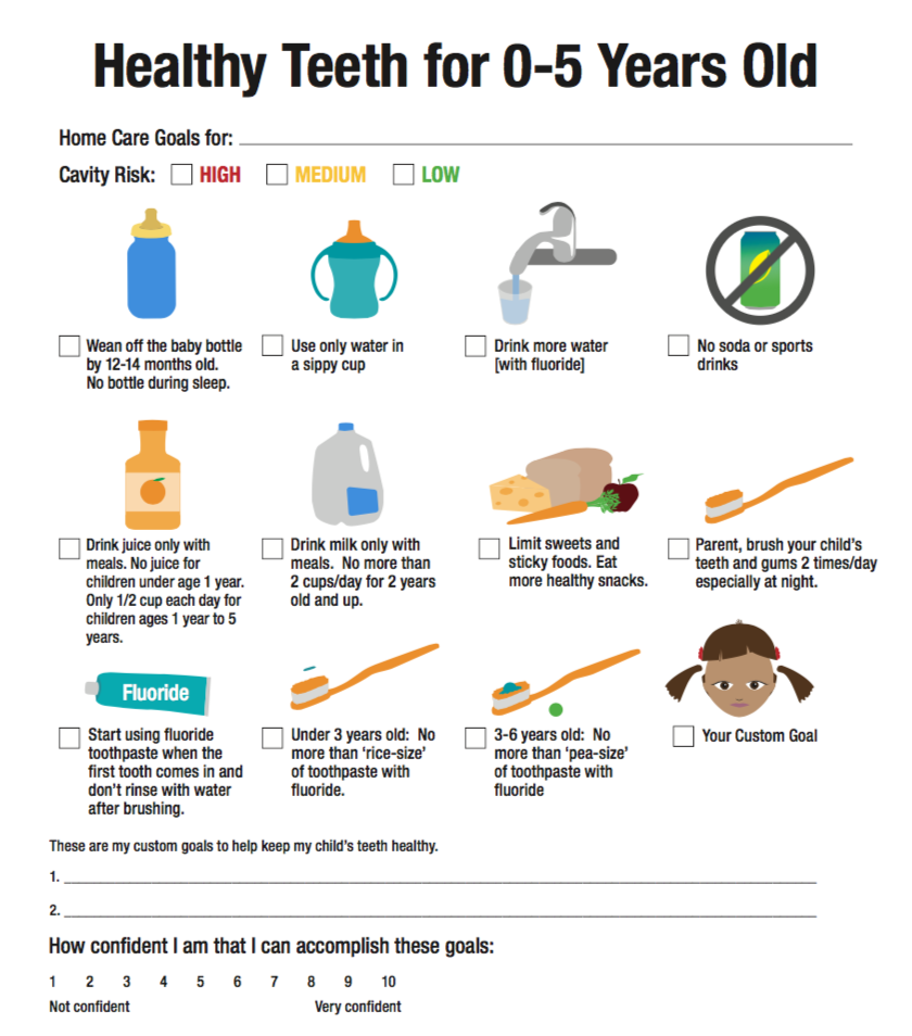 healthy teeth for 0-5 year olds