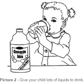 Child drinking juice to stay hydrated