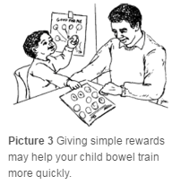 Child receiving rewards.