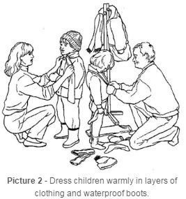 Dress children warmly with layers
