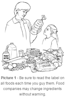 Parent and child reading food labels to ensure they are aware of all ingredients