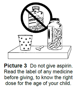 Do not give aspirin. Read the label of any medicine before giving, to know the right dose for the age of your child.