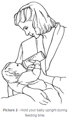 Hold your baby upright during feeding time
