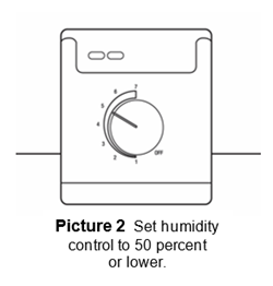 Set humidity control to 50 percent  or lower.