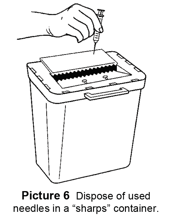 Dispose of used needles in a sharps container