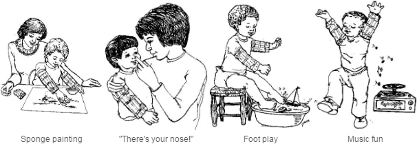 different ways to play when a baby is wearing arm restraints