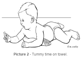 Tummy time on towel