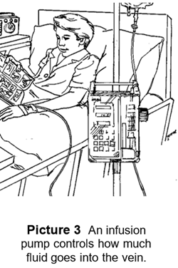 Child in hospital bed receiving an infusion through an IV