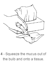 Squeeze the mucus out of the bulb
