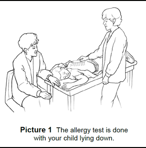 The allergy test is done  with your child lying down.