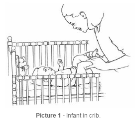 Infant in crib