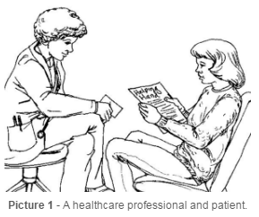 A healthcare professional and patient