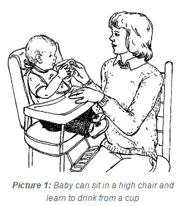 Baby can sit in a high chair and learn to drink from a cup