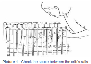 Check the space between the crib's rails