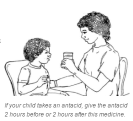 diagram of mom giving child antacid