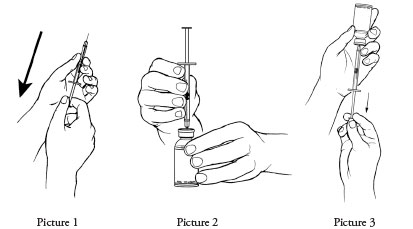 Push the needle through the rubber stopper of the vial (Picture 2). Inject the air into the vial.