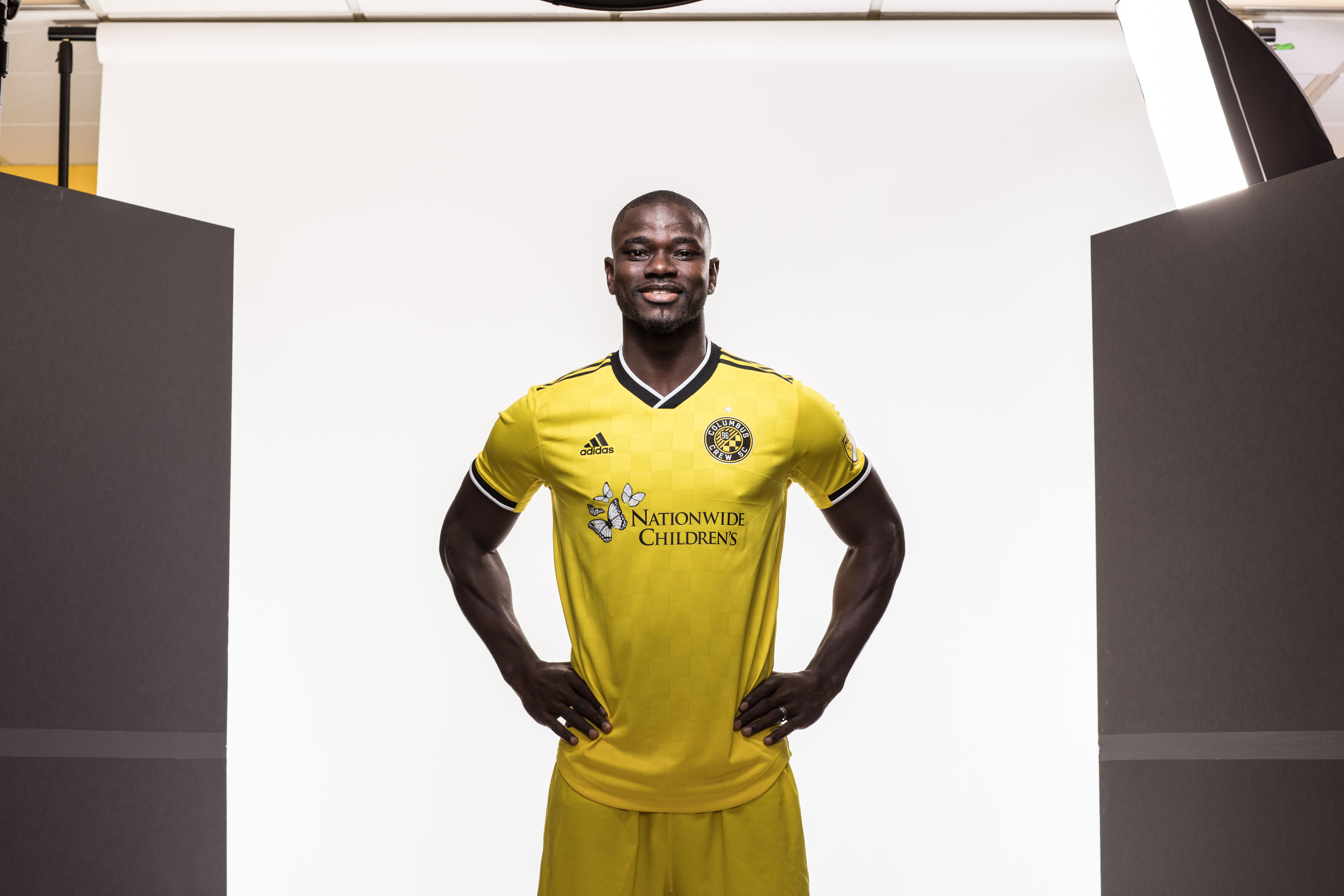 Columbus Crew player wearing Nationwide Children's Hospital jersey