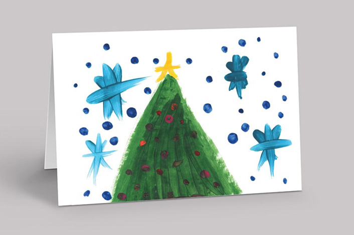 Card with hand-drawn holiday tree