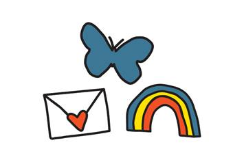 Butterfly, envelope and rainbow On Our Sleeves icons