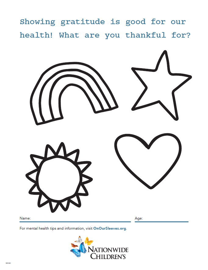 On Our Sleeves Thankful Coloring Page