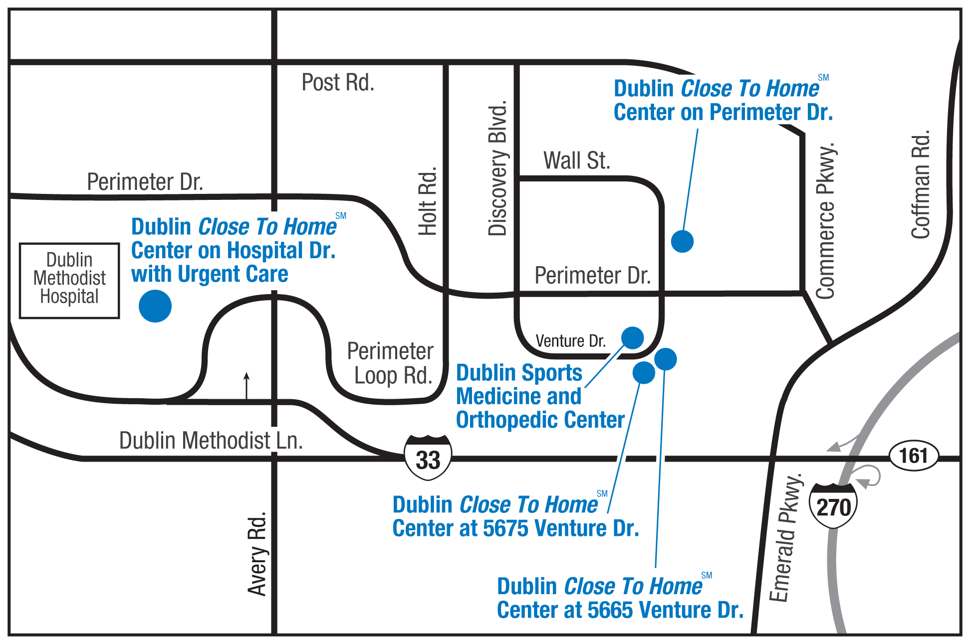 Dublin Close To Home Centers Map