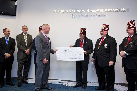Orthopedic Center lobby at Nationwide Children's is now named The Aladdin Shriners Hospital Association for Children Lobby