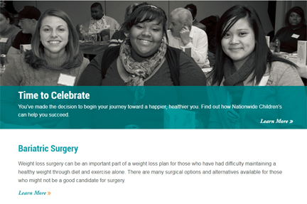 Bariatric Microsite Screenshot