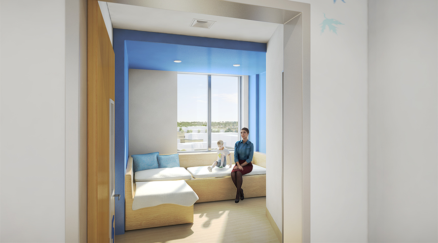 Big Lots Behavioral Health Pavilion Inpatient Room Rendering
