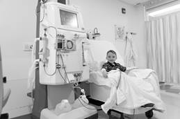 Patient receiving dialysis treatment
